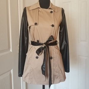 Jackets & Blazers - Faux leather sleeved coat with strap belt
